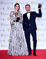Lauren Dark and Michael Pearce with their Outstanding Debut by a British Writer, Director or Producer Bafta in the press room at the 72nd British Academy Film Awards held at the Royal Albert Hall, Kensington Gore, Kensington, London.