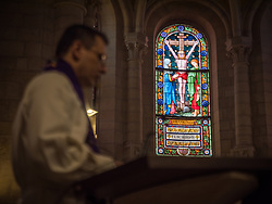 1 March 2020, Bethlehem: Stained glass window, as rev. Munther Isaac preaches during Sunday service in the Evangelical Lutheran Christmas Church in Bethlehem.