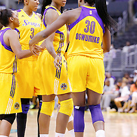17 June 2014: Los Angeles Sparks forward/center Sandrine Gruda (7) is seen next to Los Angeles Sparks forward Nneka Ogwumike (30) during the Minnesota Lynx  94-77 victory over the Los Angeles Sparks, at the Staples Center, Los Angeles, California, USA.