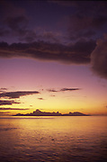 Sunset behind Moorea, French Polynesia<br />