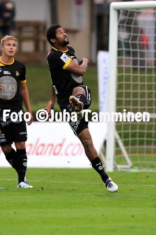 2.9.2012, Wiklof Holding Arena, Mariehamn / Maarianhamina..Veikkausliiga 2012..IFK Mariehamn - Kuopion Palloseura..Paul Obiefule - KuPS
