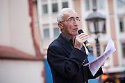 Frankfurt am Main | 26 July 2014<br /> <br /> Am Samstag (26.07.2014) demonstrierten etwa 500 Menschen auf dem R&ouml;merberg in Frankfurt am Main f&uuml;r Frieden in Pal&auml;stina / Gaza und f&uuml;r ein sofortiges Ende der israelischen Milit&auml;reins&auml;tze dort.<br /> Hier: Ramazan Kuruy&uuml;z, Vorsitzender der IRH (Islamische Religionsgemeinschaft Hessen) h&auml;lt eine Rede.<br /> <br /> &copy;peter-juelich.com<br /> <br /> FOTO HONORARPFLICHTIG!<br /> <br /> [No Model Release | No Property Release]