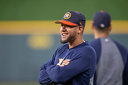 April 13, 2018 - Houston, TX, U.S. - HOUSTON, TX - APRIL 13: Houston Astros first baseman Yuli Gurriel (10) on the field prior to a MLB game between the Houston Astros and the Texas Rangers on April 13, 2018 at Minute Maid Park in Houston, TX. (Photo by Juan DeLeon/Icon Sportswire) (Credit Image: © Juan Deleon/Icon SMI via ZUMA Press)