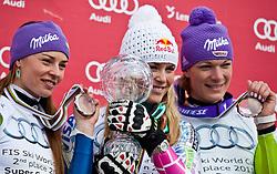 18.03.2011, Pista Silvano Beltrametti, Lenzerheide, SUI, FIS Ski Worldcup, Finale, Lenzerheide, Podium, im Bild Tina Maze (SLO). Lindsey Vonn (USA). Maria Riesch (GER). // during Overall Podium, at Pista Silvano Beltrametti, in Lenzerheide, Switzerland, 18/03/2011, EXPA Pictures © 2011, PhotoCredit: EXPA/ J. Feichter