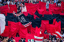 14-08-2018 NED: Champions League AFC Ajax - Standard de Liege, Amsterdam<br /> Third Qualifying Round,  3-0 victory Ajax during the UEFA Champions League match between Ajax v Standard Luik at the Johan Cruijff Arena / Ajax support flags