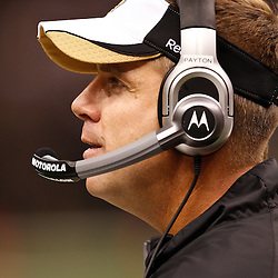 August 27, 2010; New Orleans, LA, USA; New Orleans Saints head coach Sean Payton during the second half of a preseason game at the Louisiana Superdome. The New Orleans Saints defeated the San Diego Chargers 36-21. Mandatory Credit: Derick E. Hingle