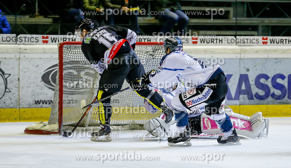 21.11.2014, Messestadion, Dornbirn, AUT, EBEL, Dornbirner EC vs EHC Liwest Black Wings Linz, 19. Runde, im Bild Chris D'Alvise, (Dornbirner EC, #15) und Fabio Hofer, (EHC Liwest Black Wings Linz #23)// during the Erste Bank Icehockey League 19th round match between Dornbirner EC and EHC Liwest Black Wings Linz at the Messestadion in Dornbirn, Austria on 2014/11/21, EXPA Pictures © 2014, PhotoCredit: EXPA/ Peter Rinderer