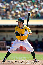OAKLAND, CA - SEPTEMBER 22: Eric Sogard #28 of the Oakland Athletics at bat against the Minnesota Twins during the second inning at O.co Coliseum on September 22, 2013 in Oakland, California. The Oakland Athletics defeated the Minnesota Twins 11-7 as they clinched the American League West Division. (Photo by Jason O. Watson/Getty Images) *** Local Caption *** Eric Sogard