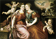 Peace and Justice. Oil on Wood.   Martin de Vos (c1532-1603) Flemish Mannerist painter. Allegorical painting showing two women embracing attended by putti.  Right, Peace with Dove and Olive Branch, Left, Justice with Sword and Rose.