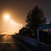 Misty Night over a road in West Virginia.