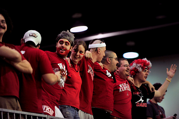 Fans cheer before the start of Western's first game of the Sun Belt Conference Tournament in Hot Springs, Ark., against the University of New Orleans.  Western won 83-58..CHRIS WILSON/HERALD