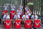 "The U.S. air force ""Band of Mid-America"" playing on a street in Chicago, Illinois, USA"