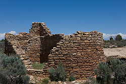 Hovenweep House ruins, Hovenweep National Monument, Colorado and Utah.Hovenweep National Monument protects six prehistoric, Puebloan-era villages spread over a twenty-mile expanse of mesa tops and canyons along the Utah-Colorado border. Multi-storied towers perched on canyon rims and balanced on boulders lead visitors to marvel at the skill and motivation of their builders..