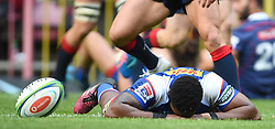 Cape Town-180427 Skhumbuzo Notshe of Stomers disappointed after nocking a ball that could have resulted in a try against of the Rebels in a Super 15 match played at Newlands stadium.photograph:Phando Jikelo/African News Agency/ANA