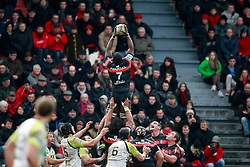 Yannick Nyanga wins the ball in the lineout for Toulouse. Stade Toulousain v Ospreys, Heineken Cup, Stade Ernest Wallon, Toulouse, France, 8th December 2012.