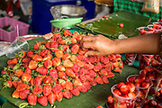 16 FEBRUARY 2013 - BANGKOK, THAILAND:  Strawberries for sale in Chatuchak Weekend Market in Bangkok. It is reportedly the largest market in Thailand and the world's largest weekend market. Frequently called J.J., it covers more than 35 acres and contains upwards of 5,000 stalls.        PHOTO BY JACK KURTZ