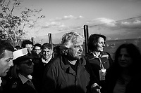 ACI TREZZA, ITALY - 28 OCTOBER 2017: Beppe Grillo (center), leader of the Five Star Movement (Italian: Movimento 5 Stelle, or M5S), who supports the candidacy of Giancarlo Cancelleri,  running for governor of Sicily in the upcoming Sicilan regional election, is seen here during a rally in Aci Trezza, Italy, on October 28th 2017. <br /> <br /> The M5S organised a march from Aci Trezza to Catania (6 miles), where a rally will be held in the evening.<br /> <br />  The Sicilian regional election for the renewal of the Sicilian Regional Assembly and the election of the President of Sicily will be held on 5th November 2017.