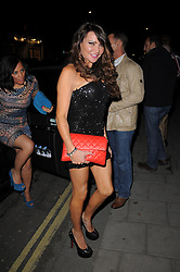 Birthday girl Lizzie Cundy arriving a the C restaurant in Mayfair, London, UK. 03/05/2013<br />