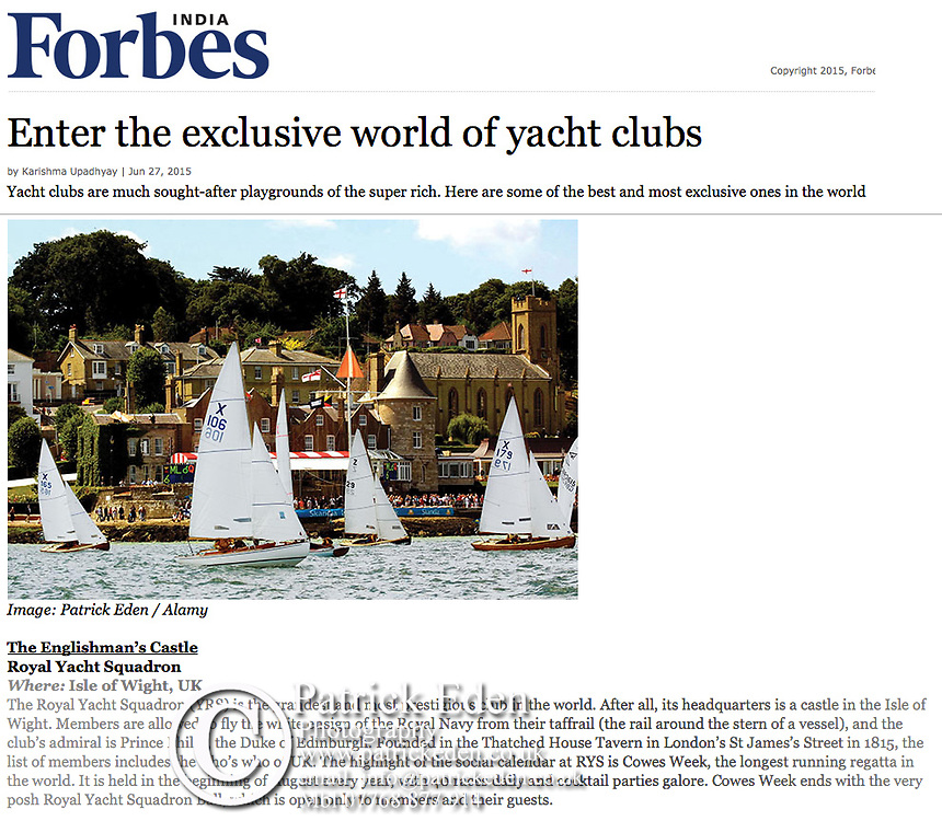 Royal Yacht Squadron, Cowes Week, Cowes, Isle of Wight, yachting, sailing, Isle of Wight, UK, Forbes Magazine,