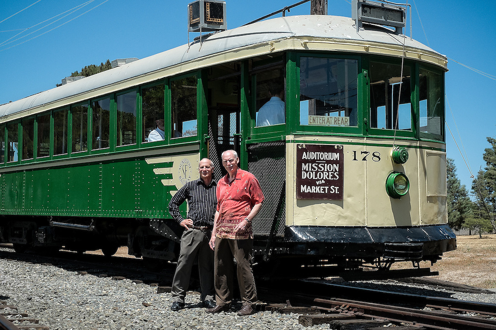 Angelo Figone and Grant Ute in front of Streetcar 178 at the Western Railway Museum. This shot was taken 56 years ago in front of the same streetcar in front of Geneva Car House | June 11, 2014