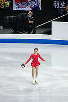 KELOWNA, BC - OCTOBER 26: A young figure skater clears the ice during ladies long program of Skate Canada International held at Prospera Place on October 26, 2019 in Kelowna, Canada. (Photo by Marissa Baecker/Shoot the Breeze)
