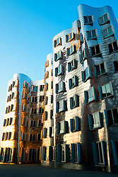 Neuer Zollhof buildings designed by Frank Gehry in Medianhafen in Dusseldorf Germany
