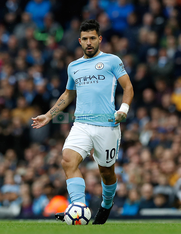 Manchester City's Sergio Aguero during the Premier League match at the Etihad Stadium, Manchester