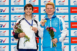 Gold Medallists Ross Haslam from City of Sheffield Diving Club and James Heatly from Edinburgh Dive Club celebrate on the podium for the Mens Synchronised 3m Springboard Final - Mandatory byline: Rogan Thomson/JMP - 10/06/2016 - DIVING - Ponds Forge - Sheffield, England - British Diving Championships 2016 Day 1.