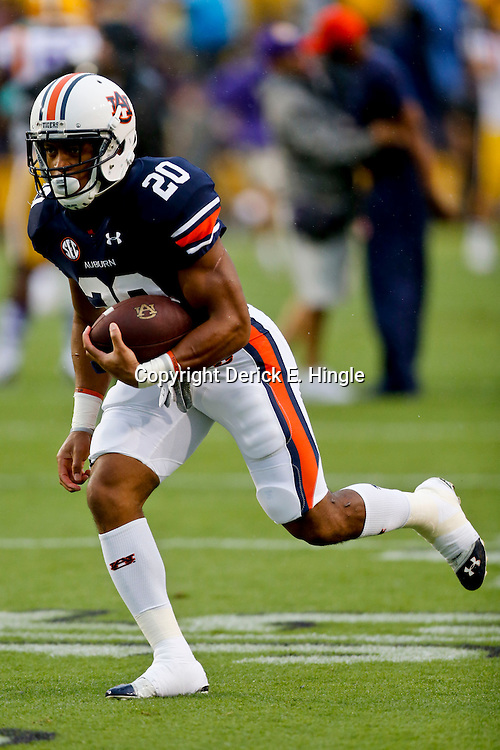 Sep 21, 2013; Baton Rouge, LA, USA; Auburn Tigers running back Corey Grant (20) before a game against the LSU Tigers at Tiger Stadium. Mandatory Credit: Derick E. Hingle-USA TODAY Sports