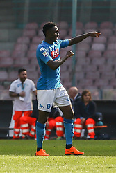 April 8, 2018 - Naples, Italy - Amadou Diawara  of SSC Napoli celebrates the victory after the serie A match between SSC Napoli and AC Chievo Verona at Stadio San Paolo on April 8, 2018 in Naples, Italy. (Credit Image: © Paolo Manzo/NurPhoto via ZUMA Press)