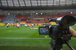 MOSCOW, RUSSIA - Tuesday, May 20, 2008: A television camera captures Chelsea players during training ahead of the UEFA Champions League Final against Manchester United at the Luzhniki Stadium. (Photo by David Rawcliffe/Propaganda)