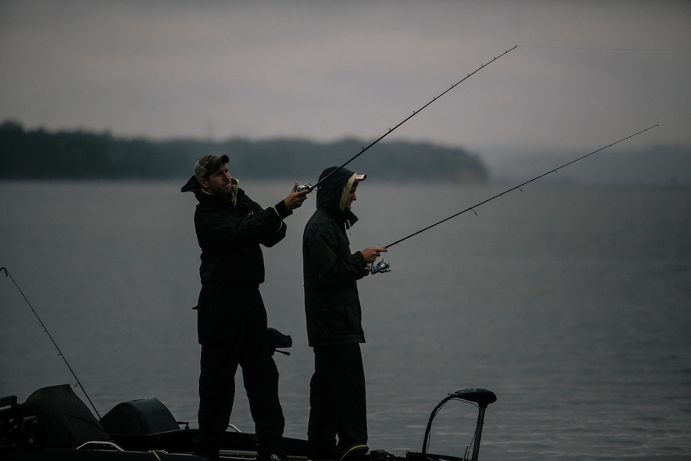 Shandon Miller, left, and Erik Rogoszewski, right of Western Michigan University, fish for bass during the FLW College Fishing Northern Conference Invitational in Marbury, MD on Oct. 11, 2014. Only the top 15 of 43 teams moved on to Sunday.