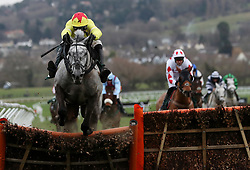 Aux Ptits Soins ridden by Harry Skelton on their way to victory in the Simplify Horse Racing Selections With Betfinder At Betbright Handicap Hurdle during the New Year Meeting at Cheltenham Racecourse.