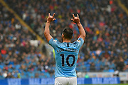 Goal - Sergio Aguero (10) of Manchester City celebrates scoring a goal to give a 0-1 lead to the away team during the Premier League match between Cardiff City and Manchester City at the Cardiff City Stadium, Cardiff, Wales on 22 September 2018.