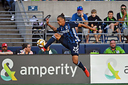 Rolf Feltscher (25) of LA Galaxy traps the ball during the MLS soccer match against the Seattle Sounders on Saturday, September 1, 2019, in Seattle, Washington. (Alika Jenner/Image of Sport via AP)
