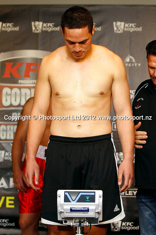 Joseph Parker, KFC Godfather of All Fight Nights Weigh In ahead of Thursdays fight night, The Nations Clubrooms bar, Sky City, Auckland. 4 July 2012. Photo: William Booth/photosport.co.nz