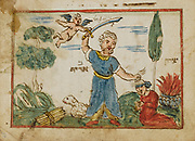 Abraham sacrifices his son Isaac from an 18th century Hebrew Manuscript Tefilot u-piyuṭim (Prayers and songs) illuminated colour manuscript by Mordo, Eliʻezer;