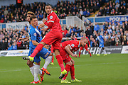 Leyton Orient defender Frazer Shaw  look anxiously as Leyton Orient defender Alan Dunne handles in the box  during the Sky Bet League 2 match between Hartlepool United and Leyton Orient at Victoria Park, Hartlepool, England on 15 November 2015. Photo by Simon Davies.