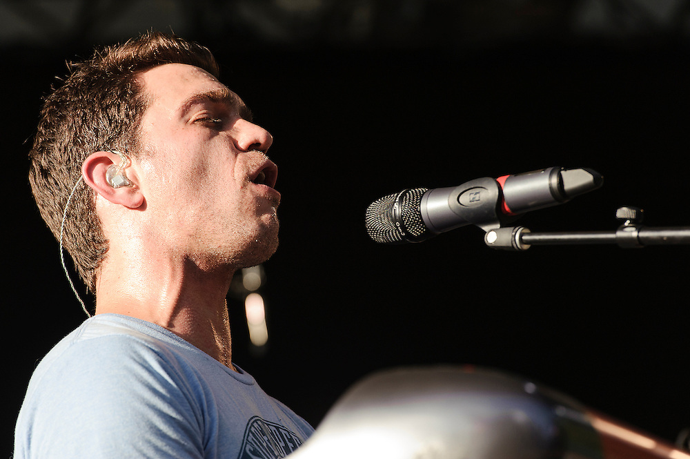 """Photos of the musician Andy Grammer performing live on the """"California 37 World Tour"""" at Central Park SummerStage at Rumsey Playfield, NYC. August 27, 2012. Copyright © 2012 Matthew Eisman. All Rights Reserved."""