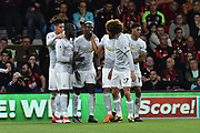Goal - Romelu Lukaku (9) of Manchester United celebrates scoring a goal to give a 0-2 lead to the away team Paul Pogba (6) of Manchester United and his team matesduring the Premier League match between Bournemouth and Manchester United at the Vitality Stadium, Bournemouth, England on 18 April 2018. Picture by Graham Hunt.