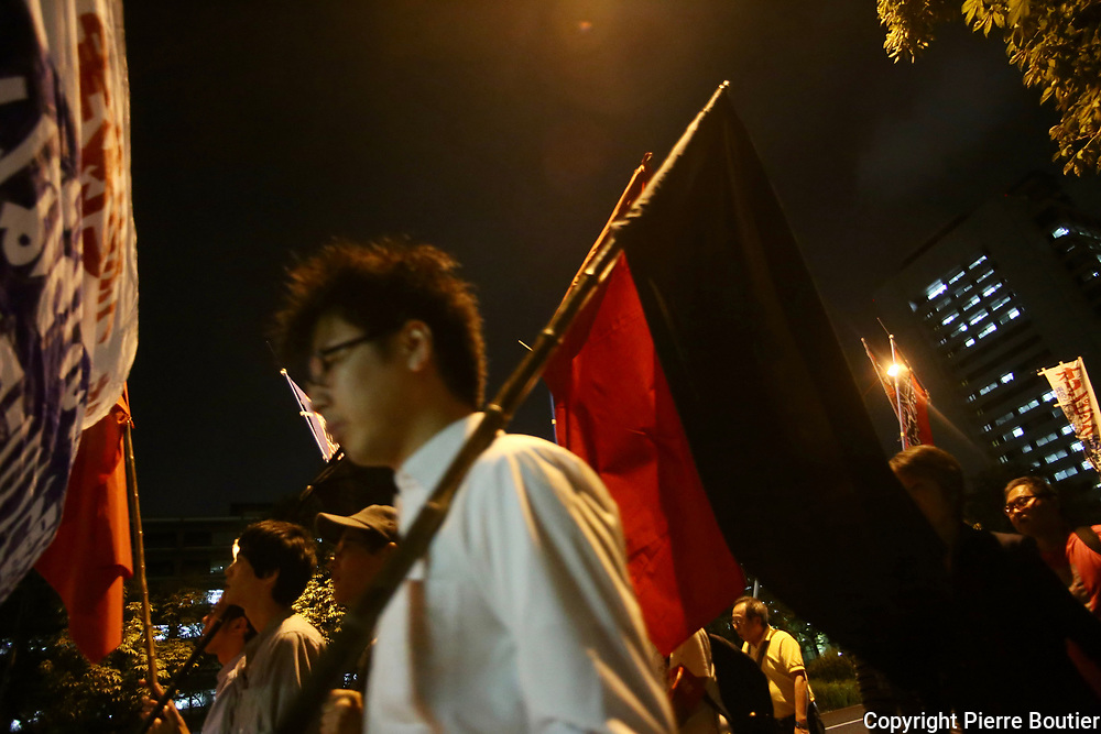 September 25, 2017, Tokyo, Kasumigaseki leftists groups oppose to nationalist policies of Japan government in ministers district of Kasumigaseki,and chant slogans against war options in DPRK against Trump line following policies. Pierre Boutier