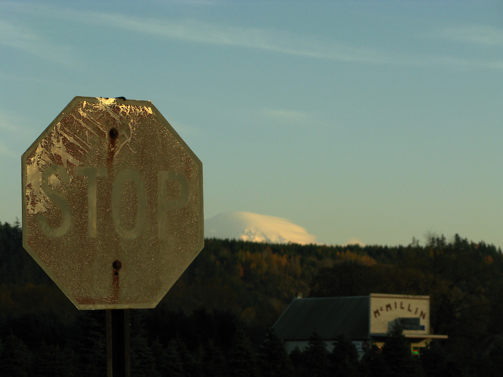 Rural Stop Sign in McMillin with Mt Rainier in the distance