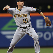 NEW YORK, NEW YORK - June 16: Jordy Mercer #10 of the Pittsburgh Pirates makes an out during the Pittsburgh Pirates Vs New York Mets regular season MLB game at Citi Field on June 16, 2016 in New York City. (Photo by Tim Clayton/Corbis via Getty Images)
