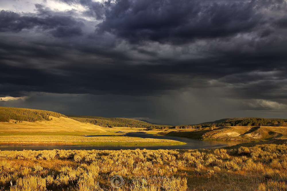 Yellowstone National Park, Hayden Valley Late Afternoon Rainstorm Over Hayden Valley