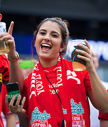 CHARLOTTE, USA - Saturday, August 2, 2014: A Liverpool supporter before the International Champions Cup Group B match against AC Milan at the Bank of America Stadium on day thirteen of the club's USA Tour. (Pic by David Rawcliffe/Propaganda)