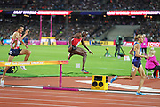 Conseslus Kipruto, Evan Jager, Soufiane Elbakkali jump hurdle during  3000m steeple chase at the World Championships 080817 at the London Stadium, London, England on 8 August 2017. Photo by Myriam Cawston.