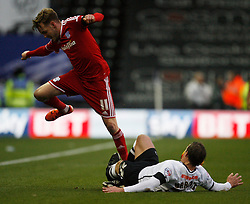 Craig Noone of Cardiff City (L) and Stephen Warnock of Derby County in action - Mandatory byline: Jack Phillips / JMP - 07966386802 - 21/11/2015 - FOOTBALL - The iPro Stadium - Derby, Derbyshire - Derby County v Cardiff City - Sky Bet Championship