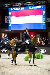 Photographie Eric KNOLL. Jumping de Bordeaux 2018. Grand Prix Land Rover. Remise des Prix<br /> Harrie SMOLDERS (NED). EMERALD N.O.P.
