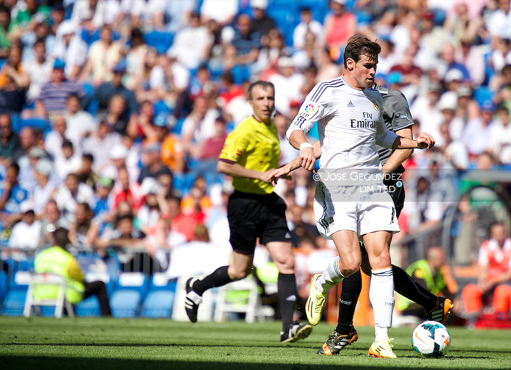Gareth Bale in action during Real Madrid v Espanol, La Liga football match at Santiago Bernabeu on May 18, 2014 in Madrid, Spain