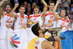 Juan Carlos Navarro of Spain celebrates when Team of Spain became the European Champion 2009 at the EuroBasket 2009 after they won at Final match between Spain and Serbia, on September 20, 2009, in Arena Spodek, Katowice, Poland.  Spain won, Serbia placed second, Greece third and Slovenia fourth. (Photo by Vid Ponikvar / Sportida)
